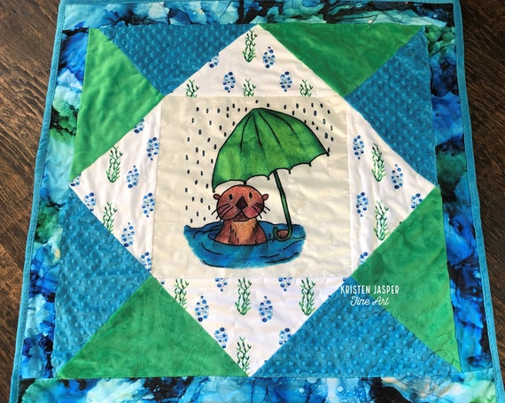SEA OTTER Baby MINKY Quilt, Coastal Beach Ocean Under the Sea Blanket, Baby Shower, Crib, Play Mat, Toddler Snuggle Blanket