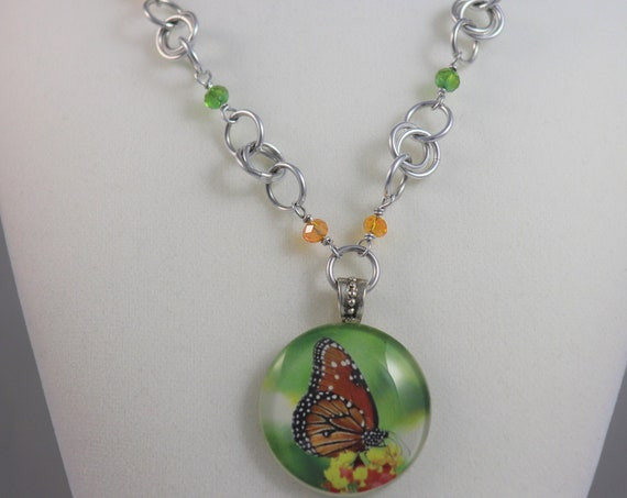 Butterfly Pendant Necklace Kamehameha Hawaii Native - Tropical Glass Artisan Beaded Necklace - Green Orange Butterfly Necklace