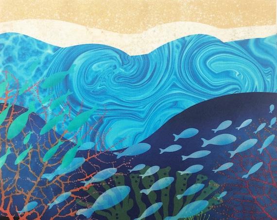 Ocean Reef Fish Fabric Panel ~ Fish Swimming Fabric Quilt Square Panel ~ School of Fish Coral Sea Anemone Ocean Waves Beach Sand Fabric