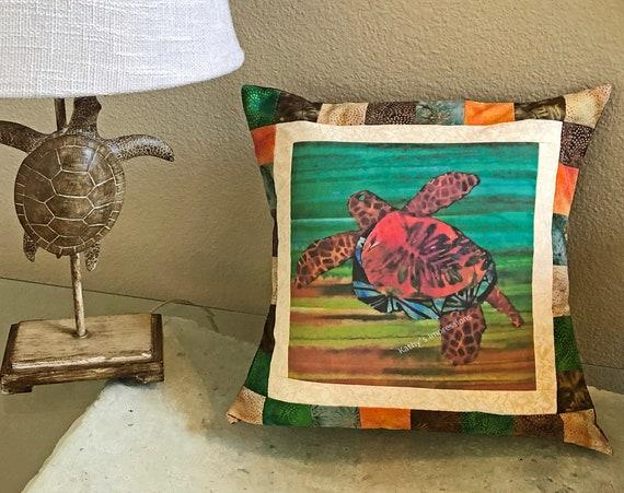 "SEA TURTLE Quilt Strip Pieced Pillow Cover~ Hawaiian Honu Sea Turtle Warm Brown Green Pillow Cover~ Coastal Beach Pillow~ Fits 16"" Form"