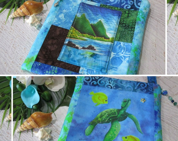 Bali Hai Hawaiian Beach Sea Turtle Shoulder Bag~ Tropical Beach Honu Sea Turtle Angel Fish Purse~ Turtle Lover iPad Bag
