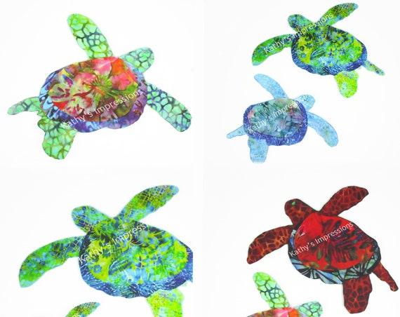 Sea Turtle Applique, Sea Turtle Fabric Applique, Iron On, Fabric Applique, Sea Turtle, Hawaiian Honu, Turtle, Tropical, Baby Quilt
