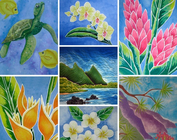 Tropical Beach Sea Turtle Lea Ingram Fabric Quilt Panel Set Flowers Kilauea Lighthouse Green Church Rooster Bali Hai Hawaii~ Make Your Set