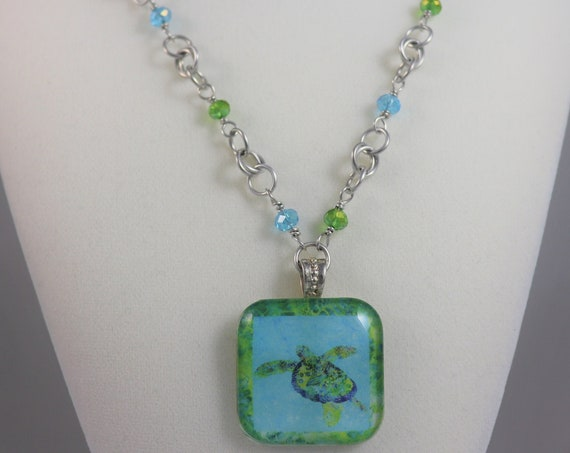 Sea Turtle Necklace Beach Pendant - Hawaiian Turtle Coastal Tropical Blue Green Ocean Necklace