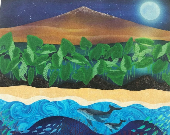 Hawaiian VOLCANO Mauna Kea Fabric Panel Big Island Hawaii~ Volcano Fabric Quilt Square Panel~ Taro Plants, Lava Rock, Whales Fabric
