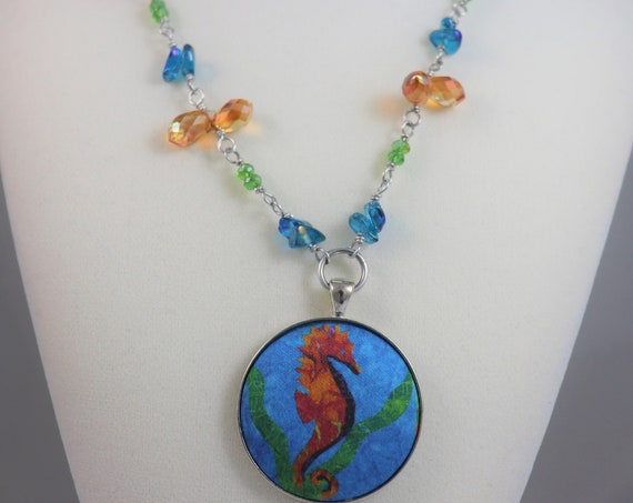 Tropical SEAHORSE Pendant Necklace - Beach Sea Life Ocean Hawaii Blue Green Orange Yellow