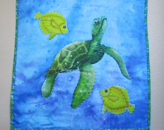 """SEA TURTLE Fabric Art Quilt Wall Hanging~ Big Stitch Hand Quilted Sea Turtle Angel Fish Tropical Beach Art Quilt ~ 17.5"""""""