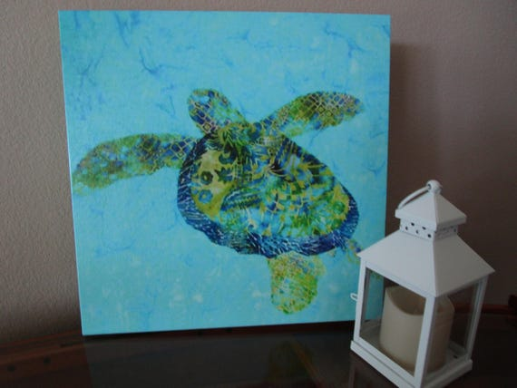 Sea Turtle Canvas Gallery Wrap, Hawaiian HONU Gallery Wrap, Baby Room Wall Art, Beach House, Tropical Ocean Water Blue Green 16x16