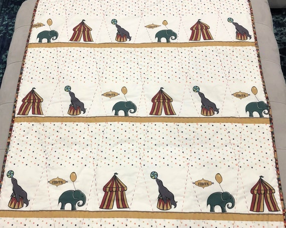 CIRCUS Baby Quilt Minky Blanket Big Tent Elephant Seal~ Big Stitch Hand Quilted Circus Boys Girls Snuggle Blanket Quilt