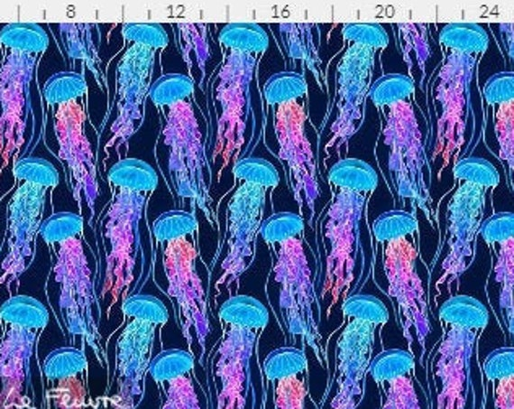 Jellyfish Rainbow Blue Purple Fabric Tropical Beach Coastal Seaside~ Organic Cotton Fabric Quilt Square or Panel