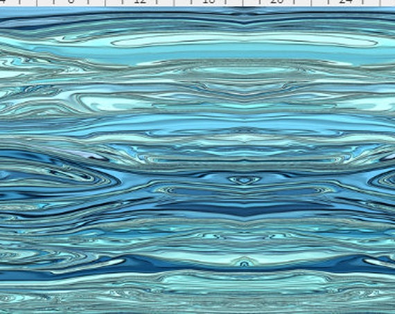 Liquified OCEAN Water Blue Green Fabric Aqua Turquoise Wavy~ Organic Cotton Fabric Quilt Square or Panel