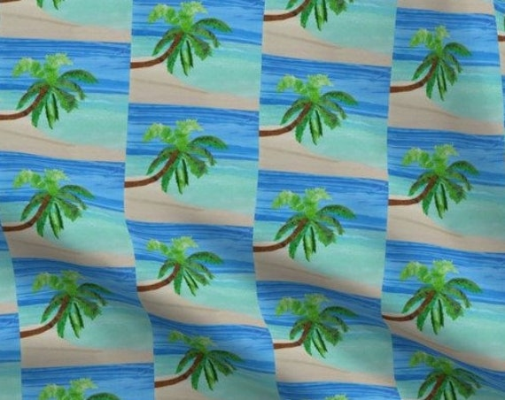 Tropical Beach Palm Tree Fabric Hawaii Florida Caribbean Islands Coastal Seaside~ Organic Cotton Fabric Panel or Square