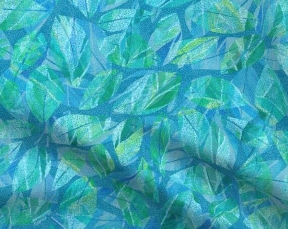Tropical Leaves Blue Green Fabric Hawaiian Coastal Teal Dotted Texture~ Beach Tropics Seaside Island Ocean Fabric ~ Fabric Quilt Panel