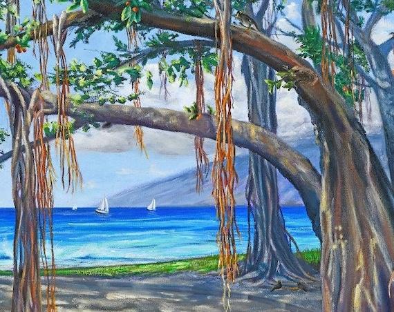 Banyan Tree Heart of Lahaina Fabric Quilt Square~ Maui Banyan Tree Hawaiian Beach Ocean Sailboats Fabric Panel
