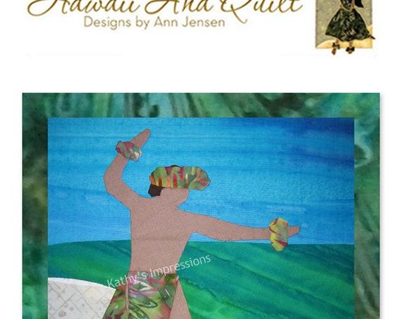 Hawaiian Male HULA Dancer Quilt Pattern Beach Hawaii Batik Applique