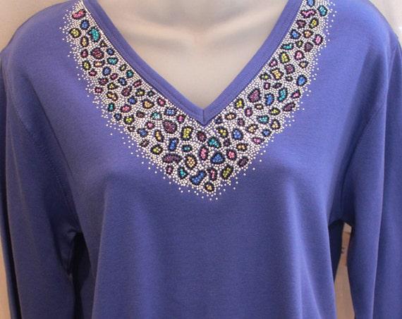 LEOPARD Rhinestone SPARKLE Purple Top~ Silver & Colorful RAINBOW Spots Shirt~ L