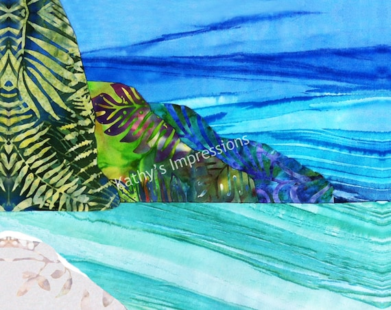 "NA PALI COAST Cool Watercolors~ 10.5"" Organic Cotton Sateen Batik Fabric Quilt Square Panel Block- Tropical Kauai Hawaii"
