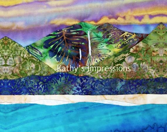 HANALEI BAY Purple Sky Fabric Quilt Square Panel Kauai Waterfall Organic Cotton Sateen Batik