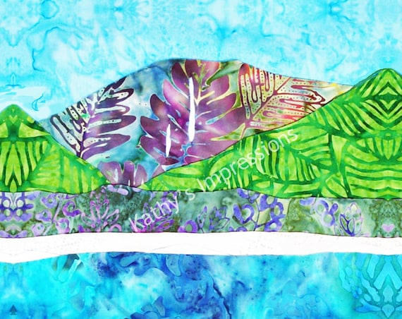 HANALEI BAY Cool Colors- Fabric Quilt Square Organic Cotton, Minky Or Velvet- Waterfalls Beach Kauai Hawaii