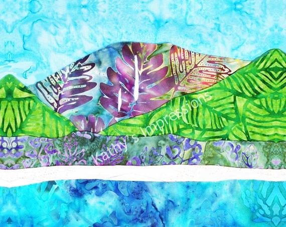 HANALEI BAY Cool Colors- Fabric Quilt Square Organic Cotton, Minky Or Velvet- Waterfalls Beach Kauai Hawaii