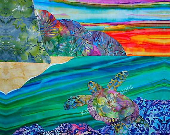 Hawaiian Beach Fabric, Sea Turtle Fabric, Under the Sea Fabric, Hawaiian Fabric, Beach Sunset Fabric, Coastal Fabric, Quilt Panel