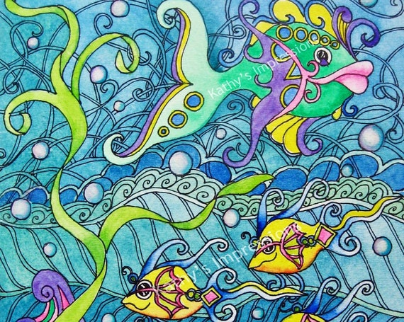 Fantasy FISH Ocean Fabric Quilt Panel Tropical Under The Sea Girls Water Bubbles Whimsical Waves Blue Green Yellow