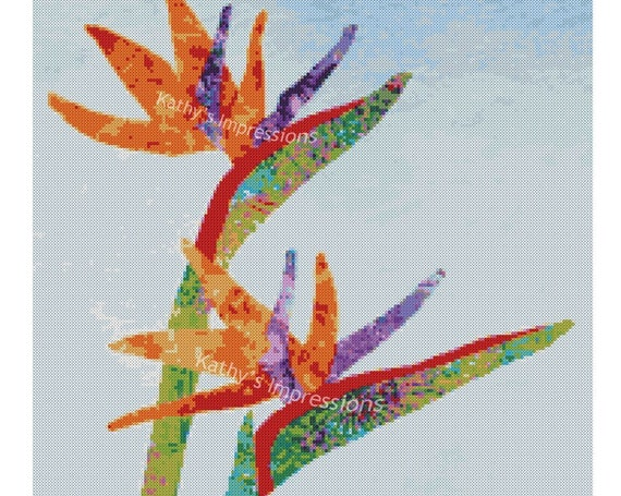 Cross Stitch Pattern Hawaiian Tropical BIRD Of PARADISE Flowers~ Digital PDF Instant File to Download and Print