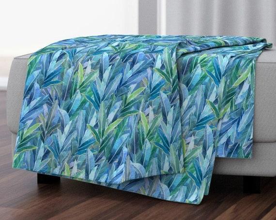 Hawaiian Garden Ginger Leaves Blue Green Baby Blanket Adult Kids Throw Blanket~ Tropical Leaves Velvet Throw Blanket