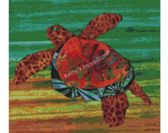 Cross Stitch Pattern Honu SEA TURTLE Brown Green Warm Colors Swimming in Ocean~ Digital PDF Instant File to Download and Print