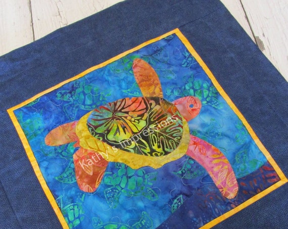 SEA TURTLE Quilted Pillow Cover, Honu Pillow Case Hand Applique Batiks Beach Navy Blue