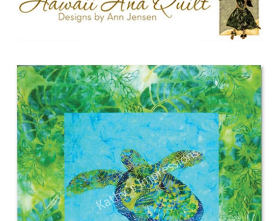 Tropical Honu SEA TURTLE Quilt Pattern Applique Ocean Water ~ Online Download Only