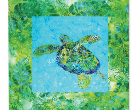Tropical SEA TURTLE Quilt Pattern Honu Hawaiian Applique ~ Paper Copy to be Shipped