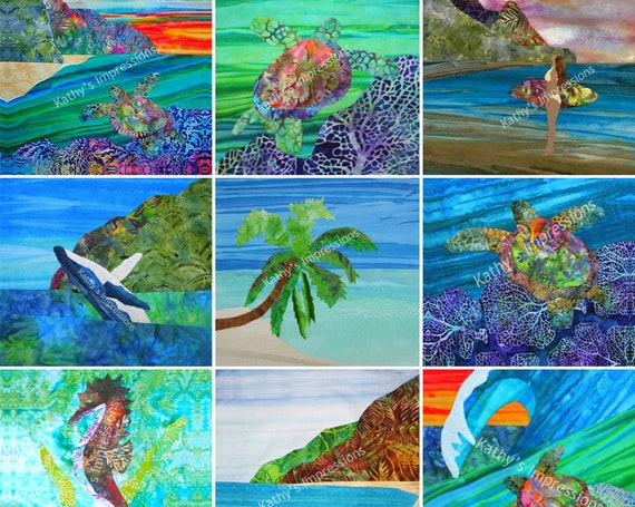 "TROPICAL BEACH Wholecloth Fabric Panel - (15) 10.5"" Uncut Square Set - DIY Lap Quilt, Wall Hanging, Baby Quilt, Cheater Quilt Top, Nursery"