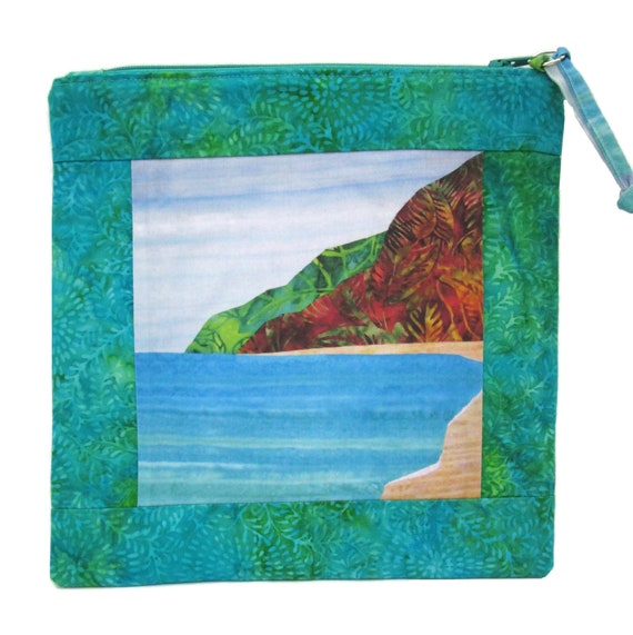 Tropical Beach Tall Zipper Pouch Batiks Hawaii Cosmetic Bag Organize Supplies Polihale Kauai Padded Case