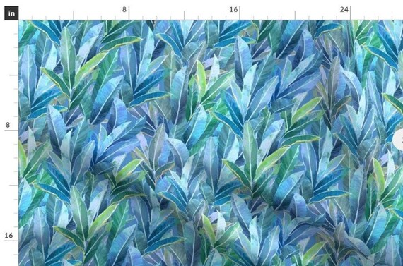 Tropical GINGER Leaves Fabric Panel Coastal Blue Green Quilt Square ~ Seaside Ocean Beach Color Leaves Fabric~ Islands Hawaii Tropics