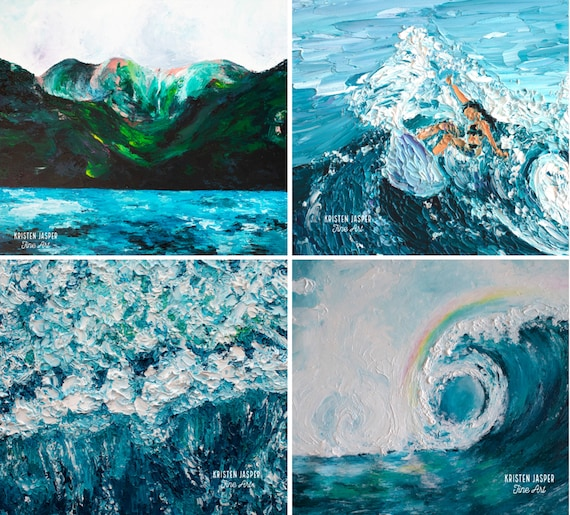 Painted WAVES Fabric Quilt Panel COLLECTION Surf's Up Wave Ocean Water Seashore Tropical Beach Sea Foam Coastal