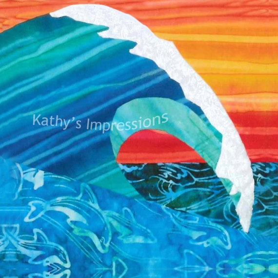 OCEAN WAVE Sunset Dolphins in Water Surf~ Fabric Quilt Square Organic Cotton Sateen