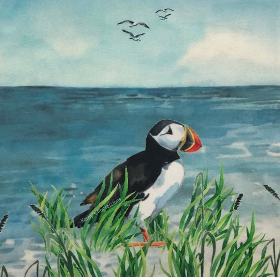 Puffin Bird Seaside Fabric Quilt Square~ Sea Bird Puffin Ocean Beach Fabric Panel~ Atlantic Puffin Coastal Fabric