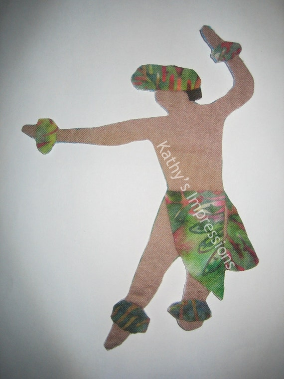 "Male HAWAIIAN HULA Dancer - 4"" x 5.5"" - Batik Fabric Applique with Wonder Under Fusing"
