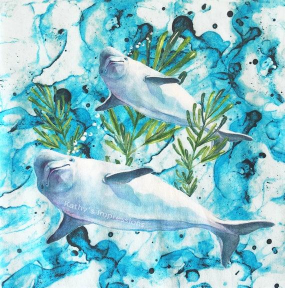 Beluga Whale Watercolor Ocean Fabric Quilt Square~ Under the Sea Beluga Whales Fabric Panel~ Sea Life Coastal Fabric