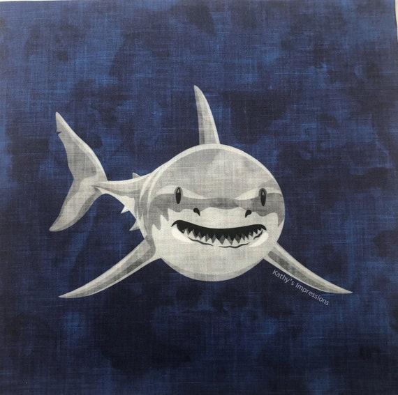 Under the Sea SHARK Fabric Panel Ocean ~ Tropical Beach Fabric Quilt Square ~ Kids Boys Shark Lover Sea Life Coastal Beach Fabric