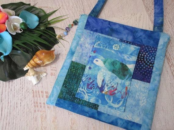 Watercolor Sea Turtle Ocean Reef Batik Shoulder Bag~ Alcohol Ink Sea Turtle Tropical Beach Purse~ Sea Turtle iPad Bag