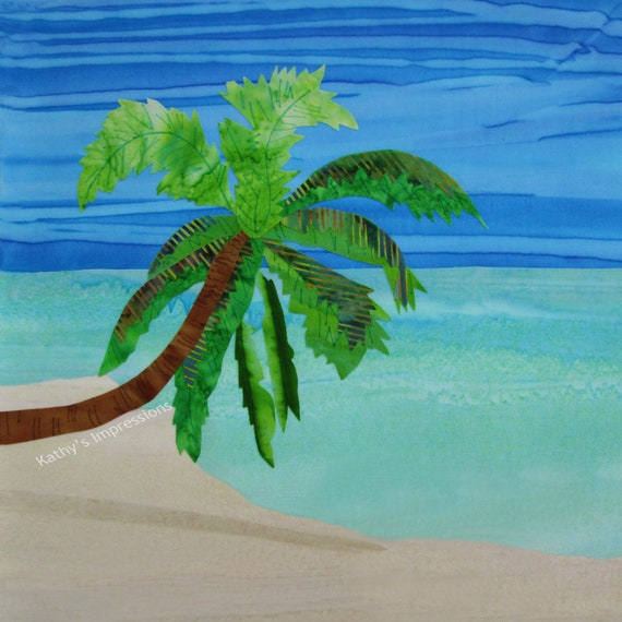 Palm Tree Fabric, Tropical Beach Fabric, Quilt Square, Fabric Panel, Fabric Quilt Square, Aqua Ocean Turquoise Water Blue Sky Sand