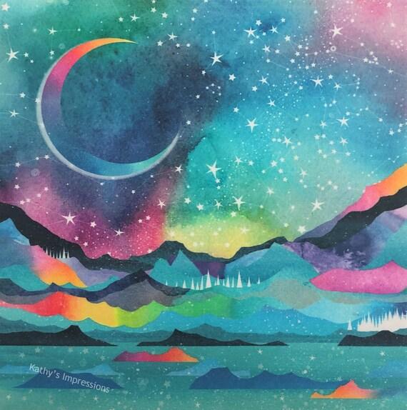 STARS Tropical Night Sky Fabric Panel Constellations Hawaiian Islands Ocean Mountains Moon~ Tropical Night Star Gazing Fabric Quilt Square