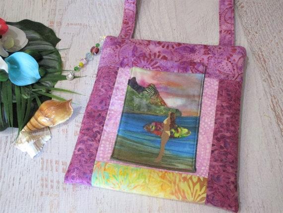 Surfer Girl Ocean Beach Surfboard Batik Crossbody Bag~ Tropical Paradise Beach Babe Ocean Surfing Sunset Purse~ Surfing iPad Bag