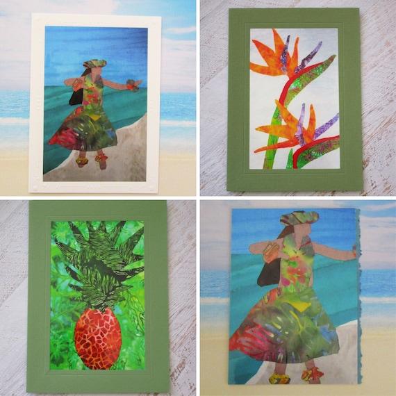 Choice of Hawaiian Hula Dancer Note Card, Pineapple Gift Card, Tropical Bird of Paradise Flowers Greeting Card, Kauai Maui Oahu Hawaii Card
