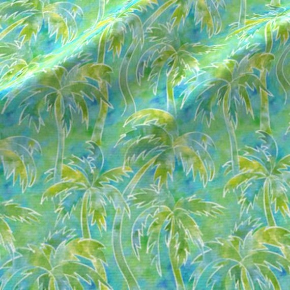 Palm Trees in WATERCOLOR Fabric Green Blue White Coastal Beach Ocean~ Quilt Square or Panel