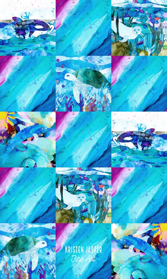 Sea Life Beach Wholecloth Fabric Panel Sea Turtle Orca Seal Alcohol Ink Watercolors ~Tropical Wholecloth Minky Cotton Fabric Baby Quilt Top