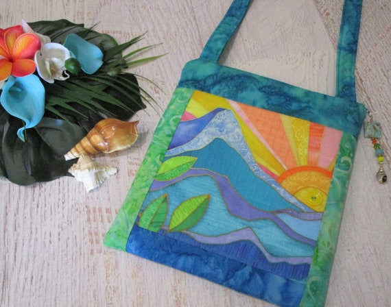 Tropical Sunrise in Paradise Dolphin Batik Crossbody Bag~ Dolphin Splashing Ocean Hawaiian Islands Purse~ Beach Lover iPad Bag