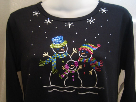 WINTER and Christmas SNOWMEN Snow Family Rhinestone BLING Top Shirt - Neon Colors - M